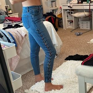 Lace-Up High-Rise Ankle Jegging